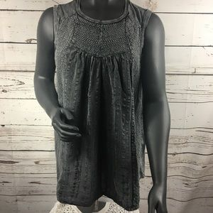 Lucky Brand Grey Tank Embroidered Sz 1X